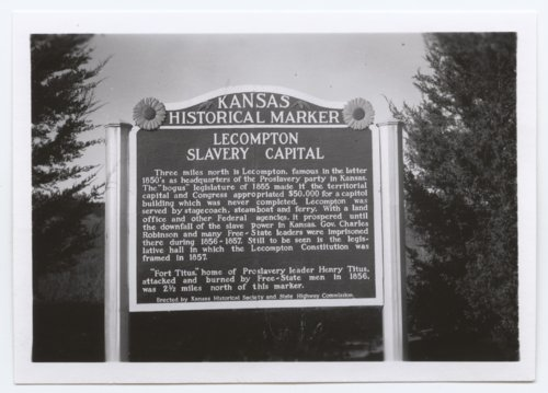 Lecompton Slavery Capital marker, Lecompton, Kansas - Page