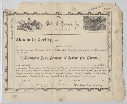 Nicodemus Town Company certificate - Page