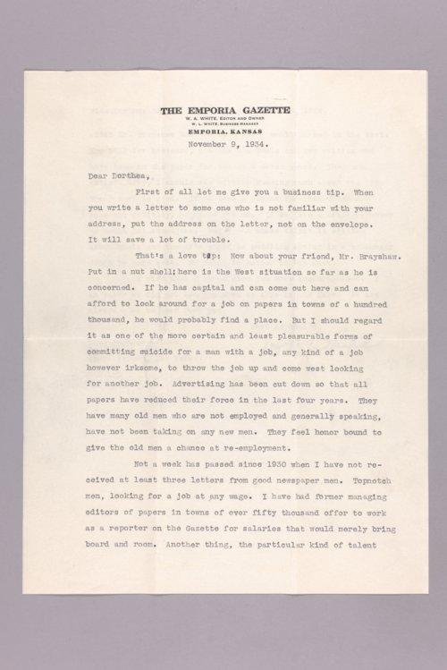 William Allen White to Dorothea Gufler letter