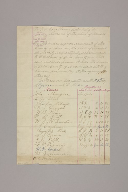Counties : Gove, recommendation of E. H. Hibbard for census taker - Page