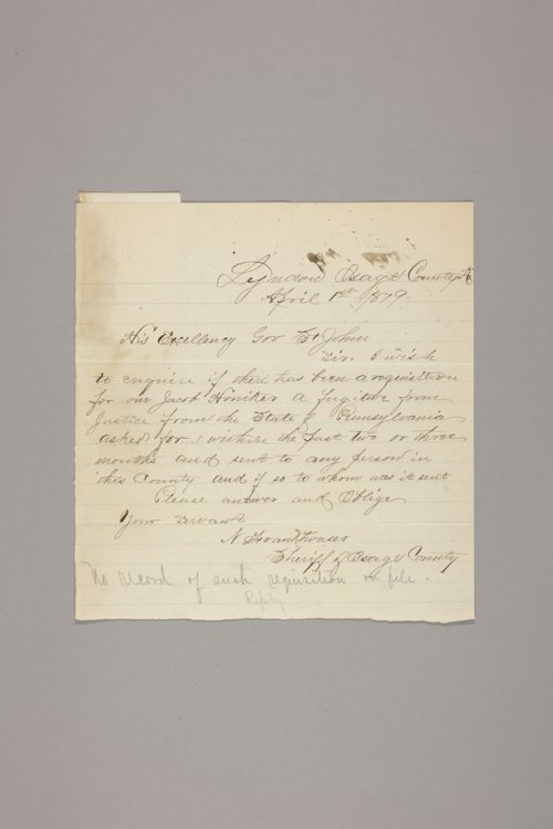 Crime and criminals: extradition papers: requisitions on Kansas by other states: Pennsylvania - Page