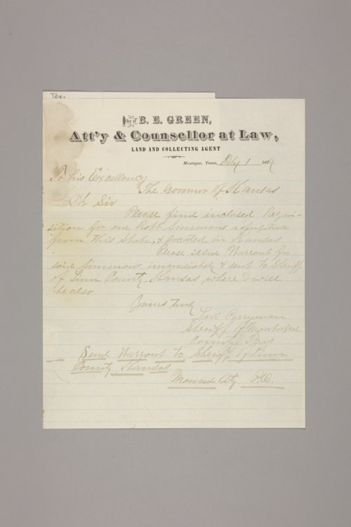 Crime and criminals: extradition papers: requisitions on Kansas by other states: Texas - Page