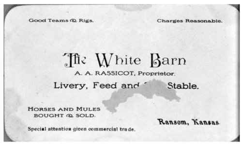 White Barn business card, Ransom, Kansas - Page
