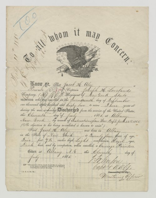 Jacob H. Aley Civil War Discharge Paper, Albany, NY - Page