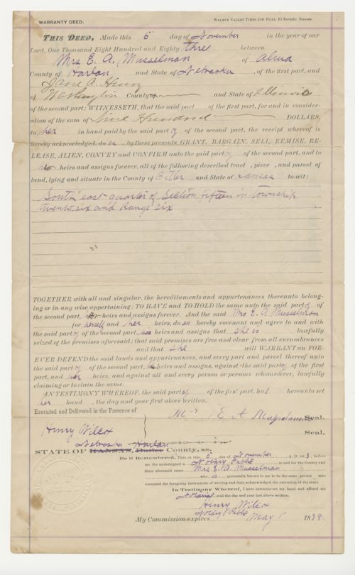 Warranty Deed from Butler County, Kansas - Page