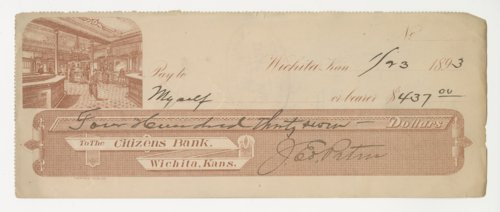 Bank Check from The Citizen's Bank in Wichita, Kansas. - Page