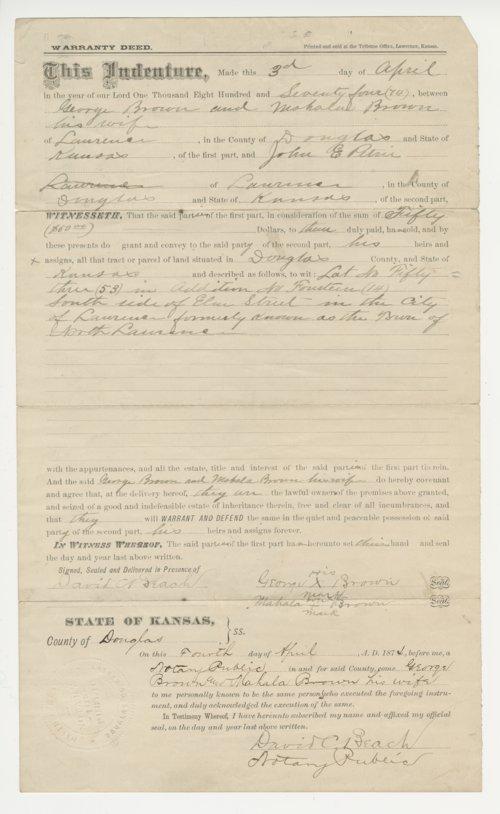 Warranty Deed from Douglas County, Kansas - Page