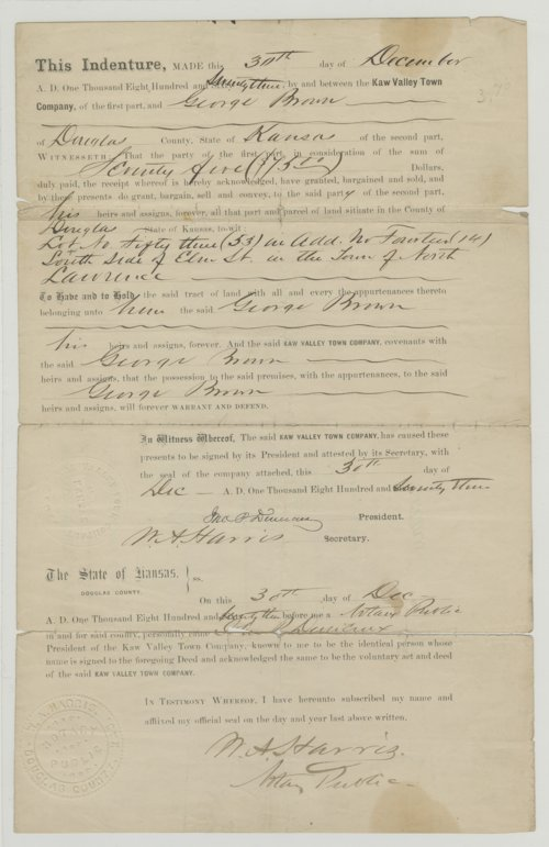 Indenture Deed from Douglas County, Kansas - Page