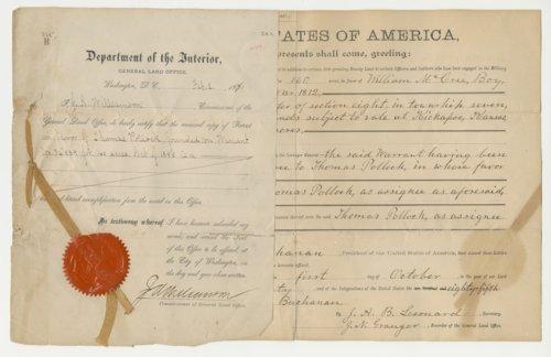 Land Grant Deed from JacKansason County, Kansas - Page