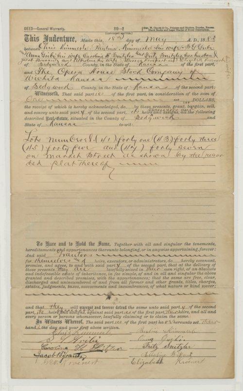 Property deed from Wichita, Kansas - Page