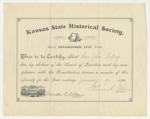 Certificate of Membership for the Kansas State Historical Society - Page