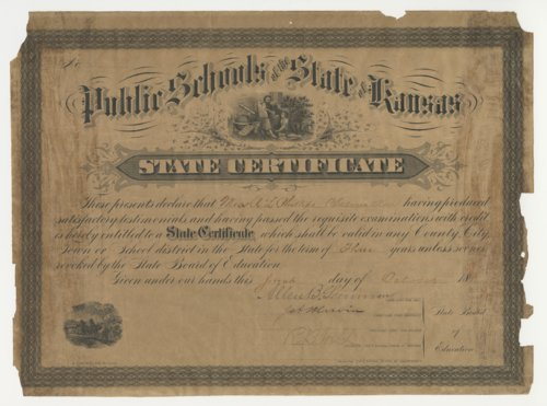 A.L. Phillips Teaching Certificate, state of Kansas - Page