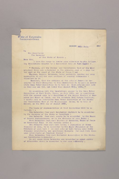 Expositions, Centennials, Conventions; Interstate Deep Water Convention, Denver - Page