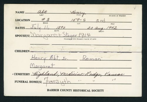 Highland Cemetery interment cards A-B - Page