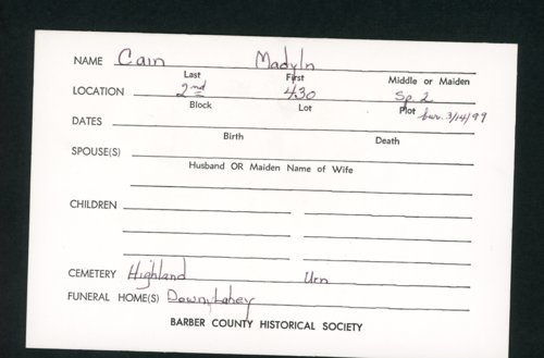 Highland Cemetery interment cards C - Page