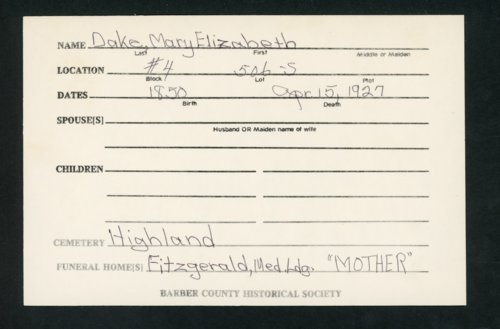 Highland Cemetery interment cards D - Page