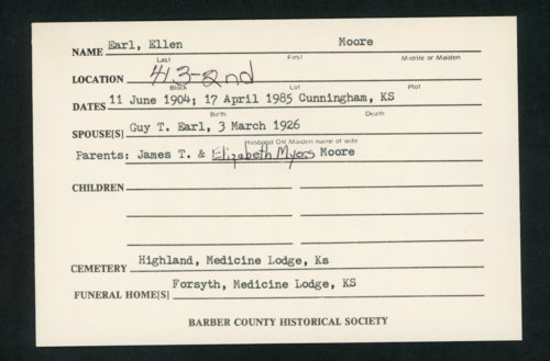 Highland Cemetery interment cards E - Page