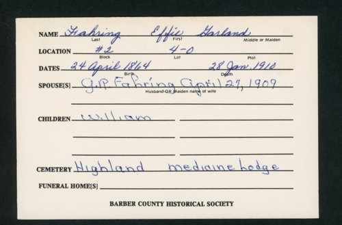 Highland Cemetery interment cards F - Page