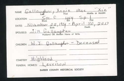Highland Cemetery interment cards G - Page