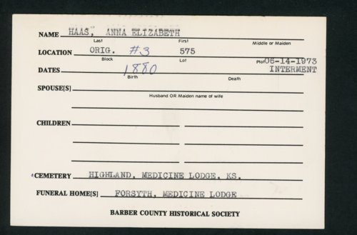 Highland Cemetery interment cards H - Page