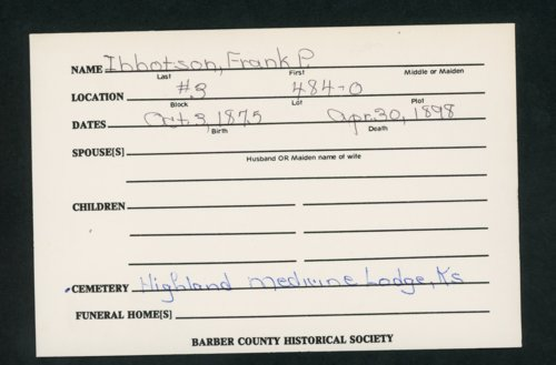 Highland Cemetery interment cards I - Page