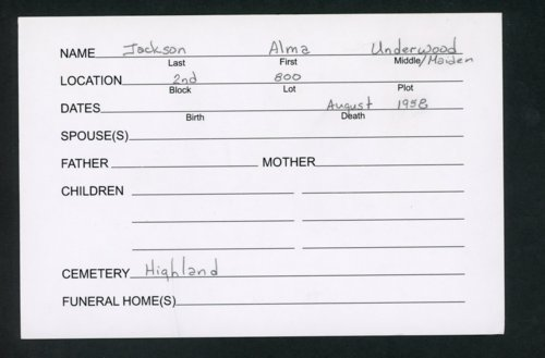 Highland Cemetery interment cards J - Page