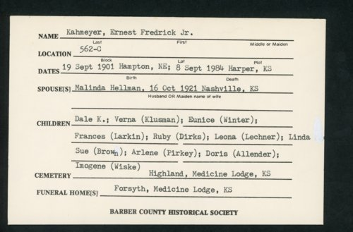 Highland Cemetery interment cards K - Page