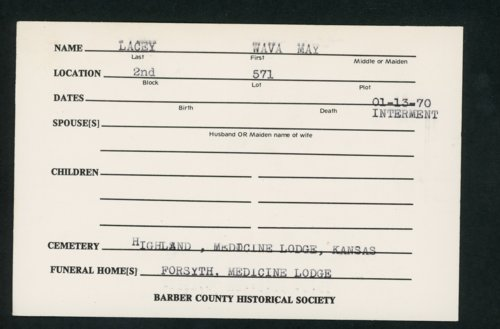 Highland Cemetery interment cards L - Page
