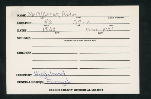 Highland Cemetery interment cards M - Page