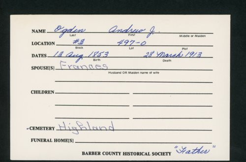 Highland Cemetery interment cards O - Page