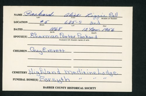 Highland Cemetery interment cards P - Page