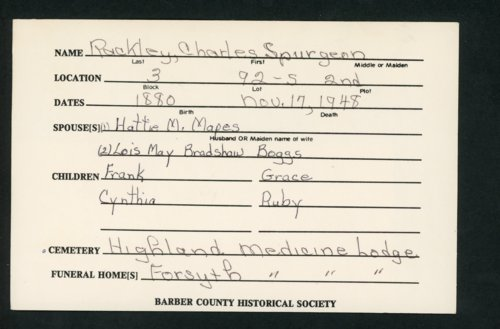 Highland Cemetery interment cards R - Page