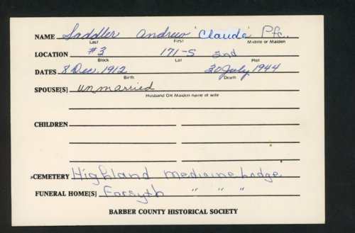 Highland Cemetery interment cards S - Page