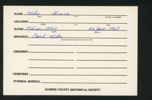 Highland Cemetery interment cards U - Page