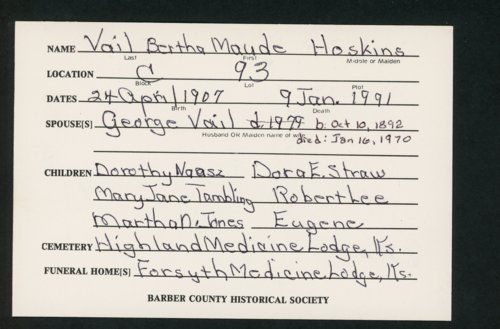 Highland Cemetery interment cards V - Page