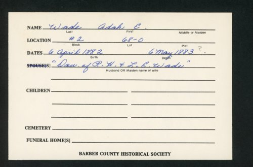 Highland Cemetery interment cards W - Page