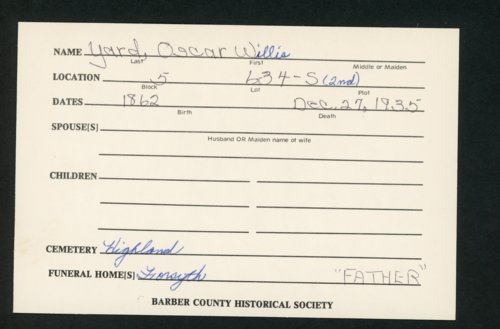 Highland Cemetery interment cards XYZ - Page