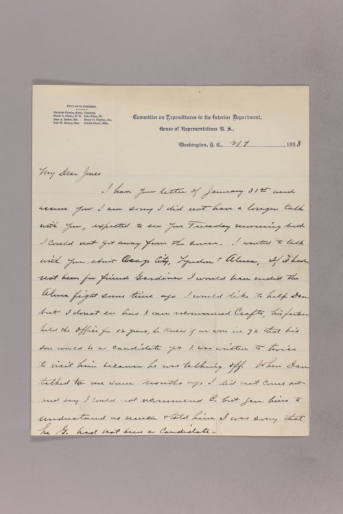Charles Curtis correspondence, 1898-1899 - Page