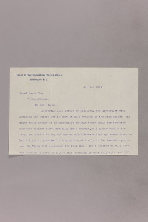 Charles Curtis correspondence, 1900-1902 - Page