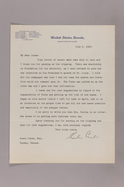Charles Curtis correspondence, 1923-1928 - Page