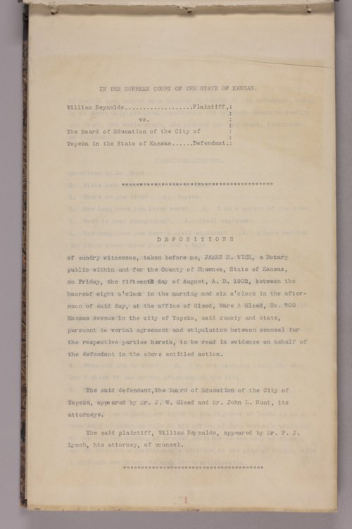 William Reynolds vs. The Board of Education of the City of Topeka, depositions - Page