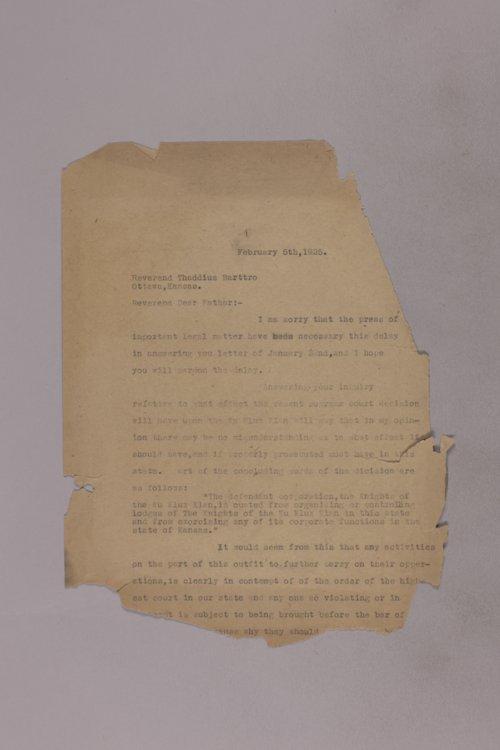 James Malone correspondence, 1925 - Page