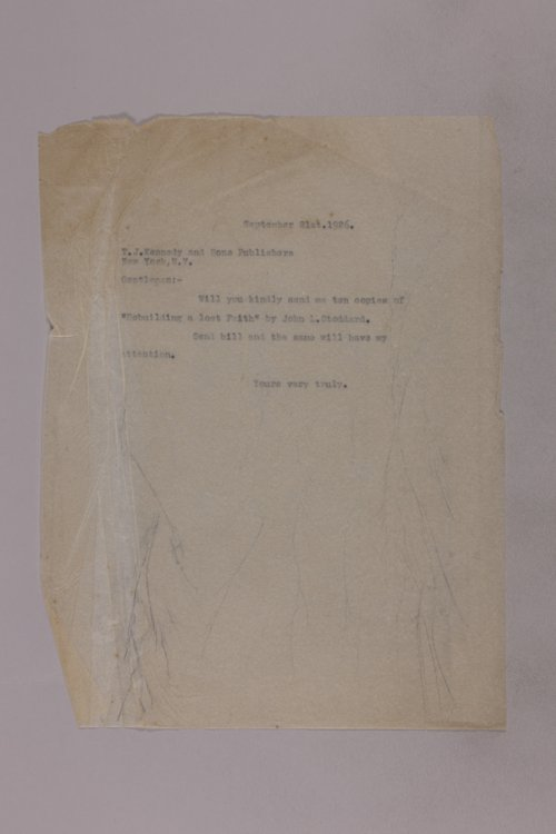 James Malone correspondence, 1926 - Page