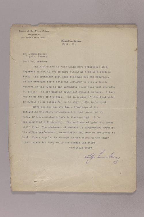 James Malone correspondence, undated - Page