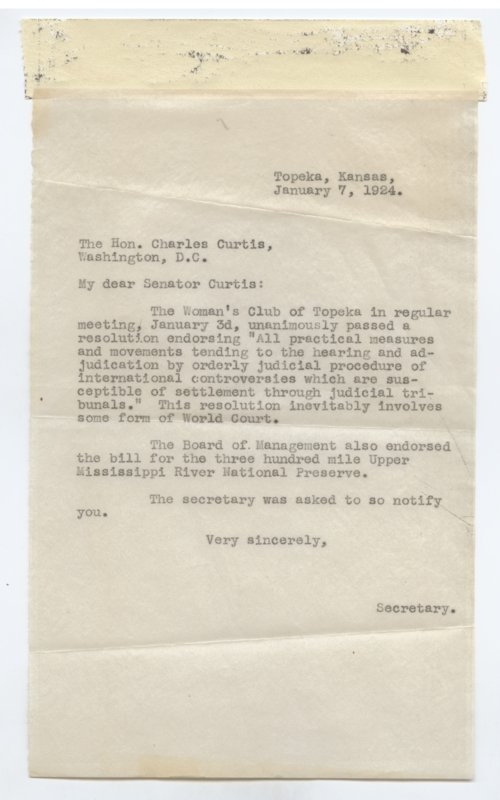 Correspondence between Senator Charles Curtis and Amabel Gossett - Page