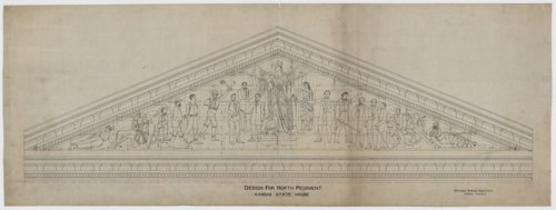 Sketch for the north pediment on the Kansas Statehouse in Topeka, Kansas - Page