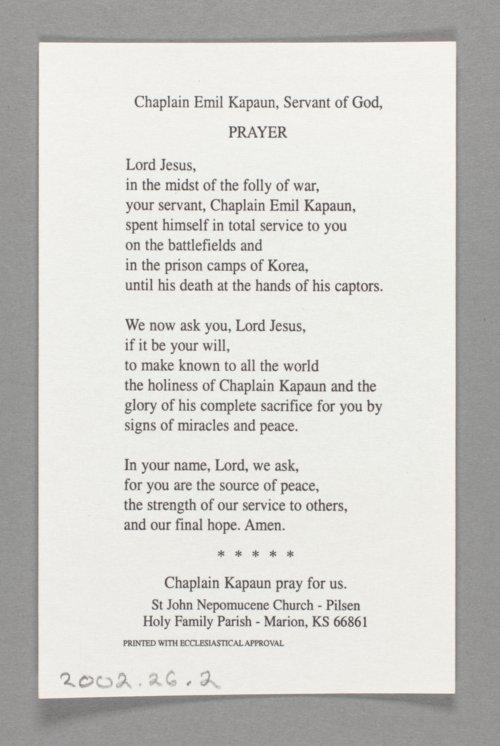 Father Kapaun prayer card - Page