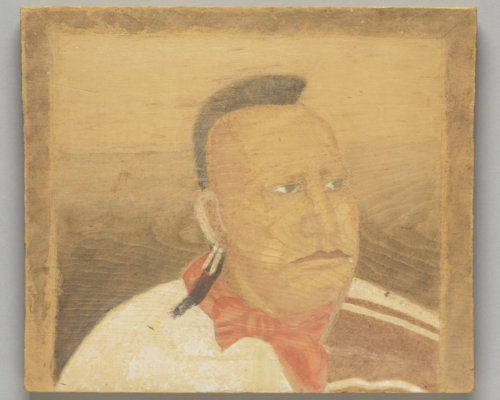 Portrait on a Wooden Plank of Me sha tsa, Osage - Page