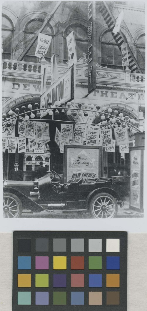 Dewey Theatre, New York, New York,  with signs promoting an appearance by Carry Nation - Page