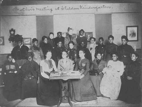 A portrait of the mothers of kindergarten students in a meeting at the Sheldon Kindergarten in Topeka, 1890s